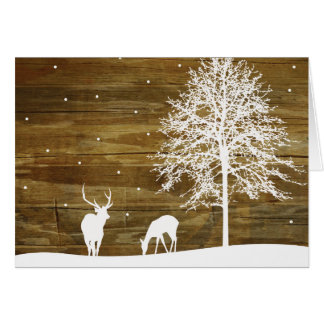 White Winter Deer and Snow - Reclaimed Wood Rustic Card