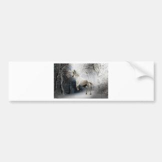 White Winter Horse Bumper Sticker