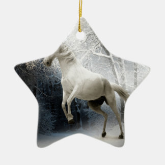 White Winter Horse Christmas Ornament