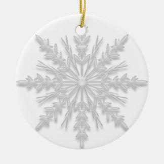 White Winter Snowflake Will You Be My Bridesmaid Round Ceramic Decoration