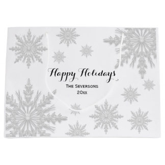 White Winter Snowflakes Happy Holidays Large Gift Bag
