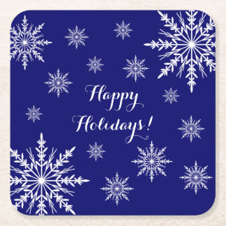 White Winter Snowflakes on Blue Happy Holidays Square Paper Coaster