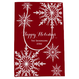 White Winter Snowflakes on Red Happy Holidays Medium Gift Bag