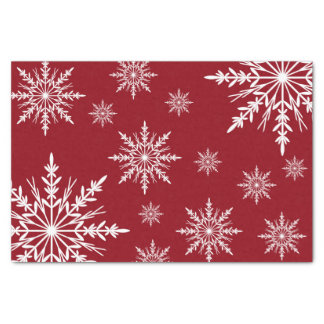 White Winter Snowflakes on Red Tissue Paper