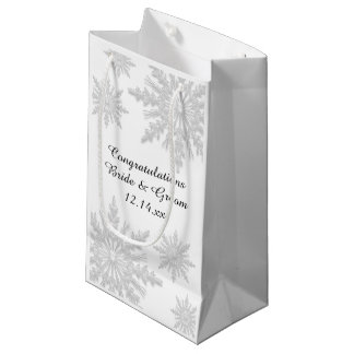White Winter Snowflakes Wedding Congratulations Small Gift Bag