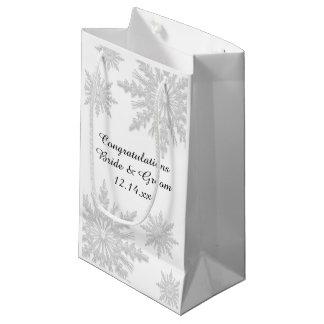 White Winter Snowflakes Wedding Congratulations Small Gift Bag