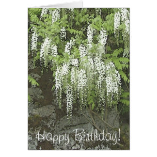 White wisteria birthday card