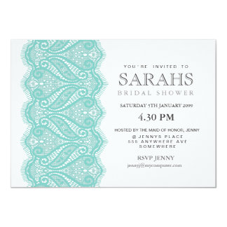 White with Aqua Lace Bridal Shower Party Invite