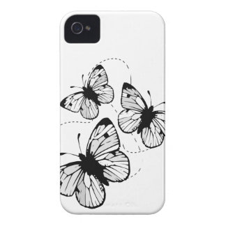 White with  black butterflies iPhone 4/4S Case-Mat iPhone 4 Case