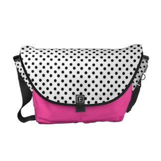 White With Black Polka-Dot: Messenger Bag