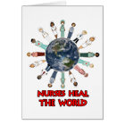 White with Blue and Red World Nurse Card