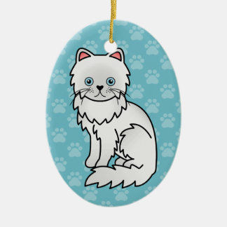 White With Blue Eyes Persian Cat Christmas Ornament