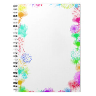 White with Fireworks Spiral Notebook