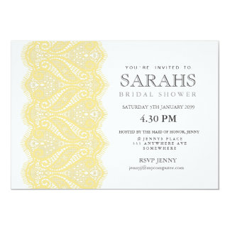 White with Lemon Lace Bridal Shower Party Invite