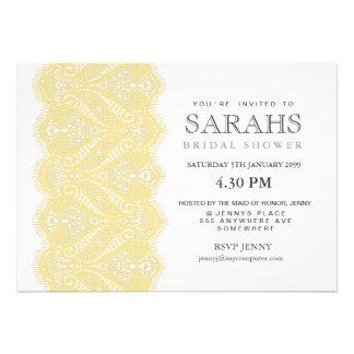 White with Lemon Lace Bridal Shower Party Invite