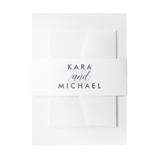 White with Midnight Blue Calligraphy and Diamond Invitation Belly Band