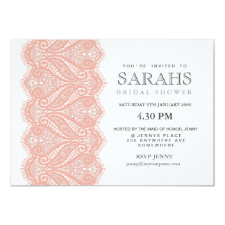 White with Peach Lace Bridal Shower Party Invite