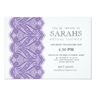 White with Purple Lace Bridal Shower Party Invite