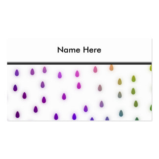White with rainbow color rain drops business card template