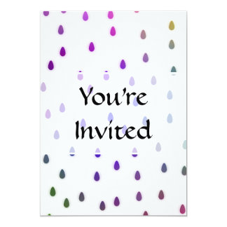 White with rainbow color rain drops. personalized invitations