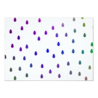 White with rainbow color rain drops. custom invites