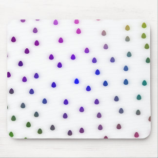 White with rainbow color rain drops. mouse pad