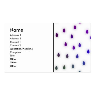 White with rainbow color rain drops. pack of standard business cards