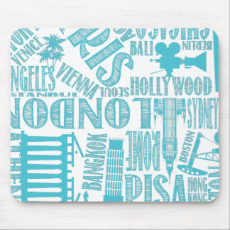 White with Teal Urban Cities Mouse Pad