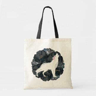 White Wolf and Black Roses Budget Tote Bag