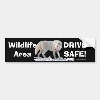 White Wolf Arctic Wolf Driver Safety Bumpersticker Bumper Sticker
