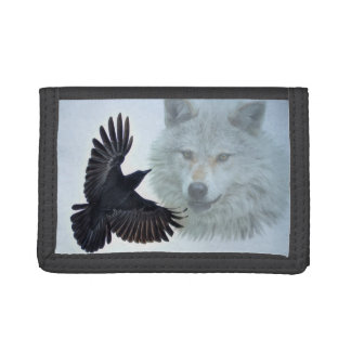White Wolf & Black Raven Wildlife Art Tri-fold Wallet