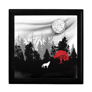 White wolf in forest with red tree gift box