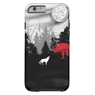 White wolf in forest with red tree iPhone case