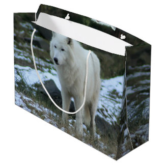 White Wolf in Winter Large Gift Bag
