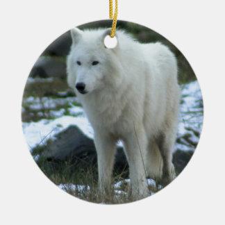 White Wolf in Winter Round Ceramic Decoration