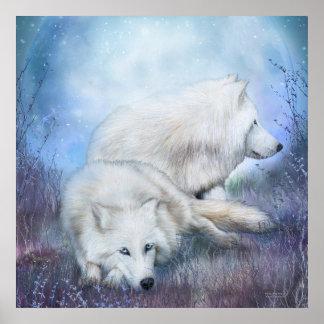 White Wolf Mates Art Poster/Print Poster