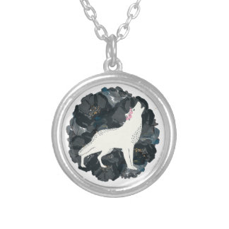 White Wolf on Black Roses Circle Necklace