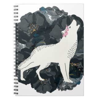 White Wolf on Black Roses Notebook