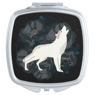 White Wolf on Circle of Black Roses Compact Mirror