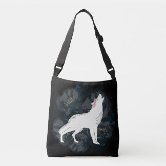 White Wolf on Circle of Black Roses Crossbody Crossbody Bag