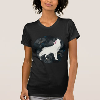 White Wolf on Circle of Black Roses Dark Shirt