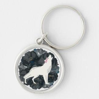 White Wolf on Circle of Black Roses Keychain