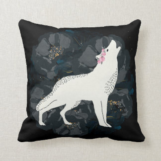 White Wolf on Circle of Black Roses Square Pillow