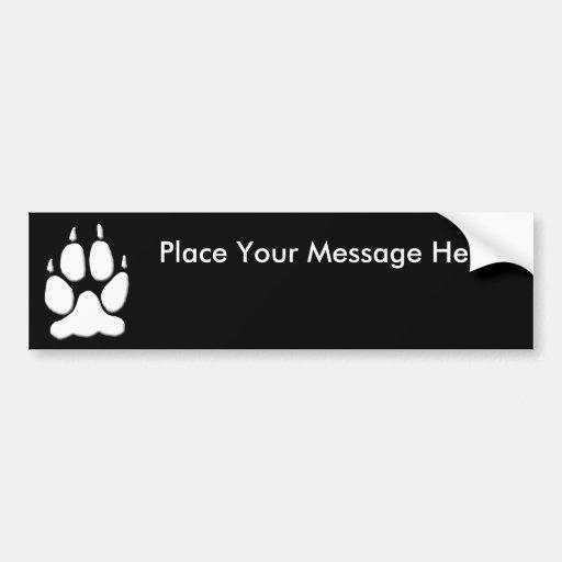White Wolf Paw Print Bumper Stickers
