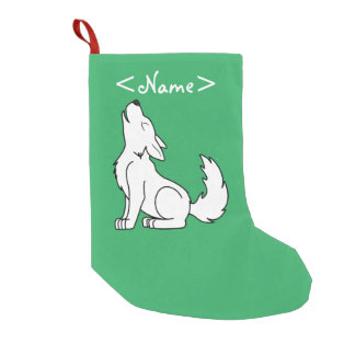 White Wolf Pup Howling Small Christmas Stocking
