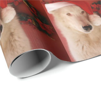 White Wolf Santa Wrapping Paper