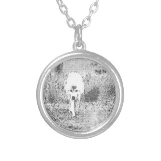 White Wolf Sketch in Pen and Ink Round Pendant Necklace
