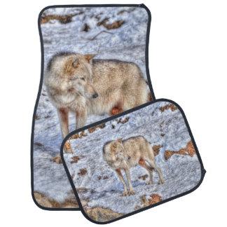 White Wolf & Snow Wildlife Photo Art Car Mat