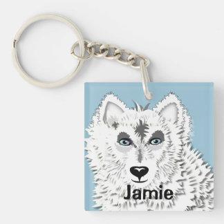 White Wolf Wild Animal Illustration Key Ring
