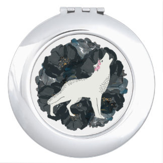 White Wolf with Black Roses Round Compact Mirror